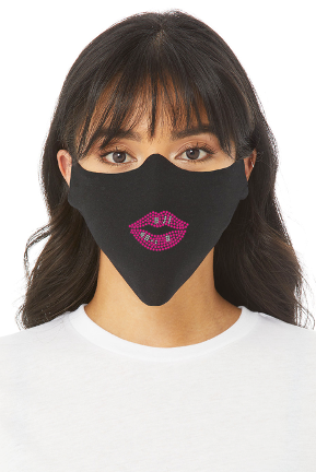 PINK LIPS RHINESTONE FACE MASK