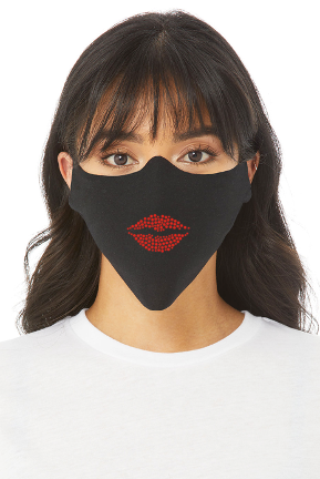 RED HOT LIPS RHINESTONE FACE MASK